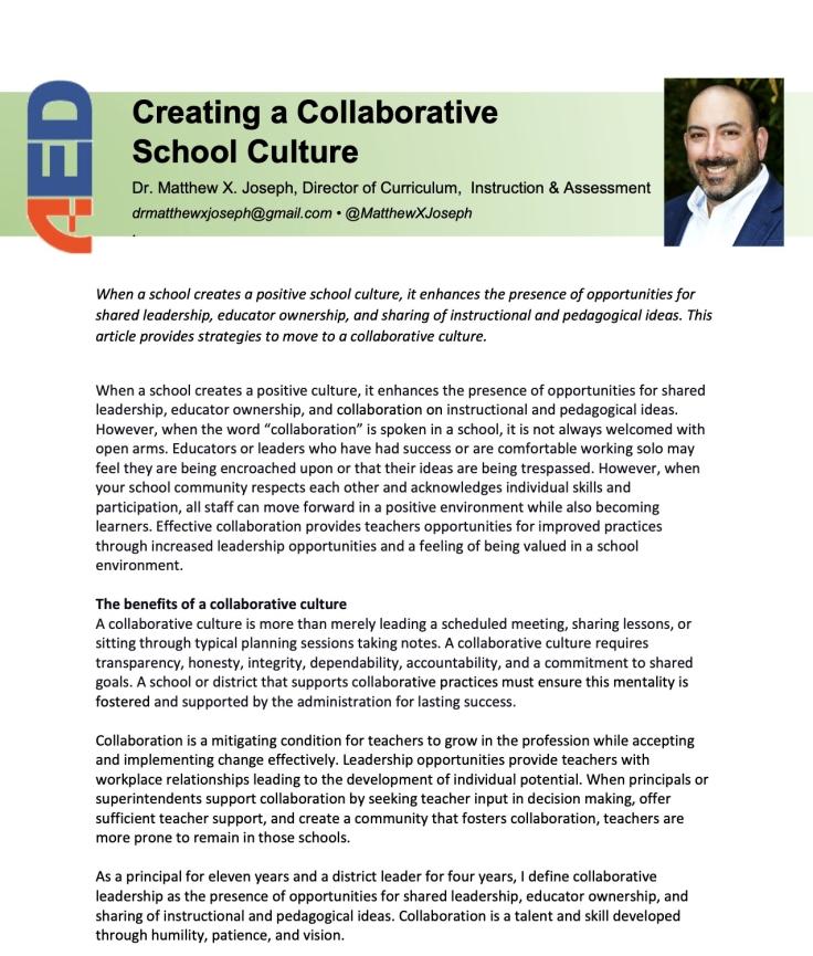Update ]Joseph Creating a Collaborative School Culture (1)
